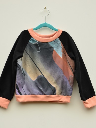 peach 80s abstract print jumper