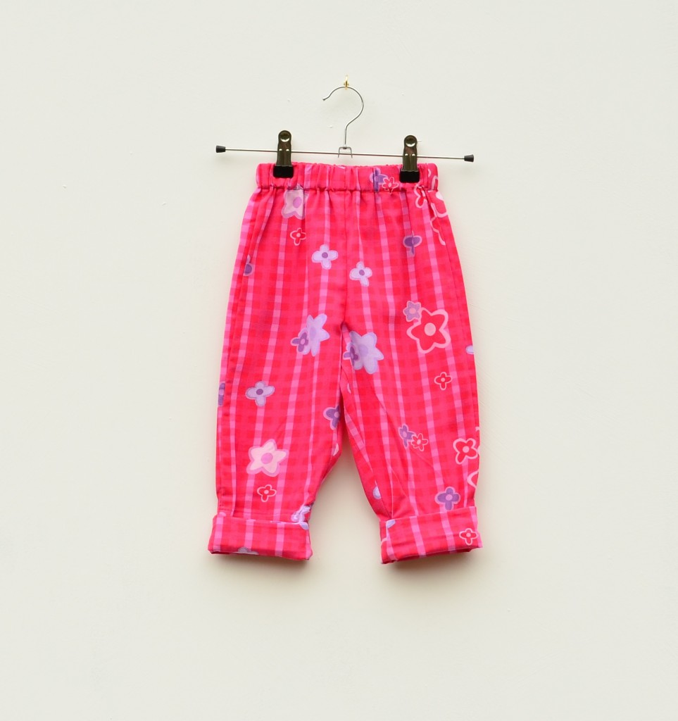 Pink Check Flower Baby Trousers