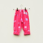 Pink Check Flower Baby Trousers Back