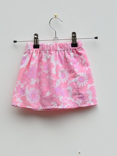pink 70s floral baby skirt