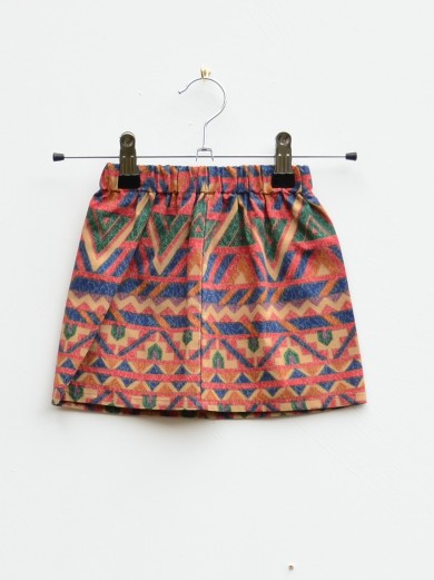 orange aztec print kids skirt