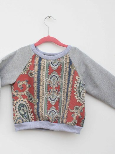 kids paisley jumper grey sleeves